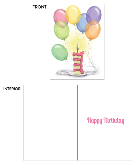 greeting card - Happy Birthday Cake and Balloons by Kate Pitner