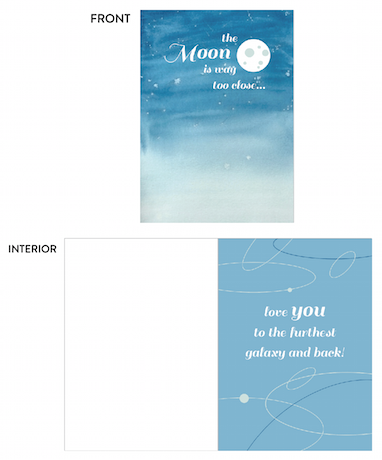 greeting card - moon's too close by lulablu