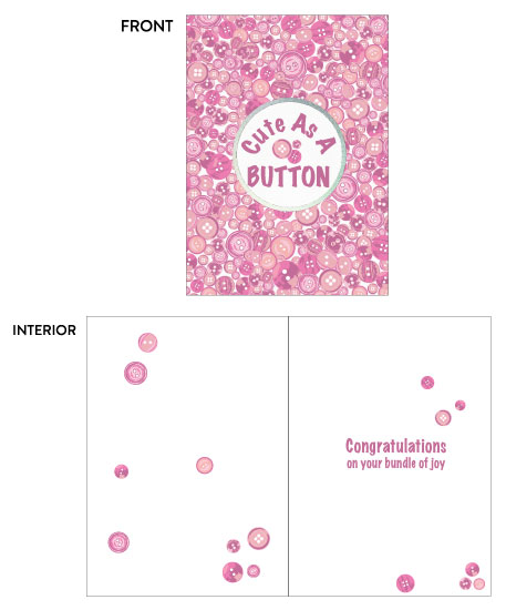 greeting card - Baby Cute as a Button Pink by Kate Pitner