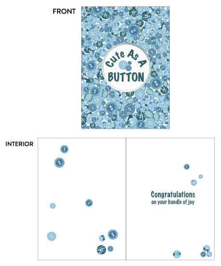 greeting card - Baby Cute as a Button Blue by Kate Pitner