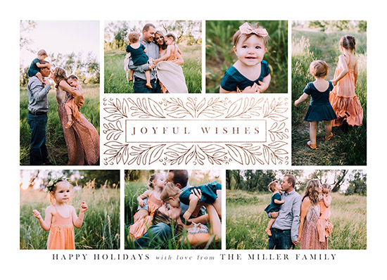 holiday photo cards - Framed Joyful Wishes by Jamie Schultz Designs