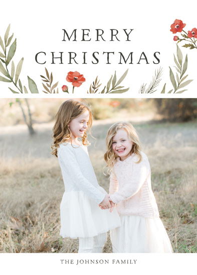 holiday photo cards - Merry Christmas Wildflowers by Wildfield Paper Co.