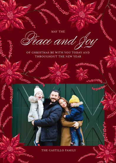 holiday photo cards - Peace and Joy Poinsettias by Paper Route Studio