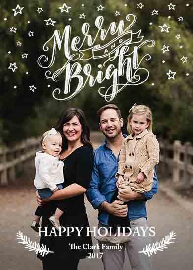 holiday photo cards - Merry & Bright Chalk Lettering by Sparkletters