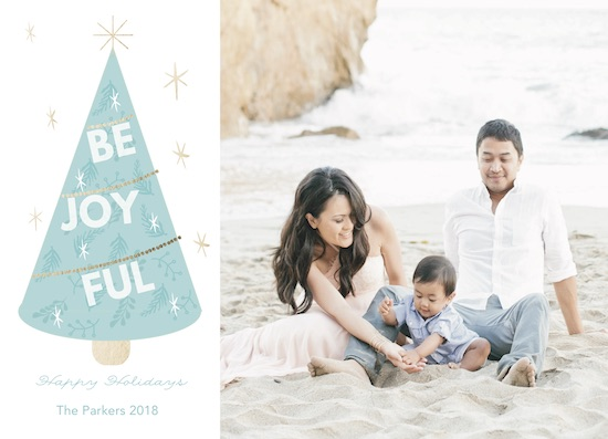 holiday photo cards - Be Joyful Tree by Hallie Fischer