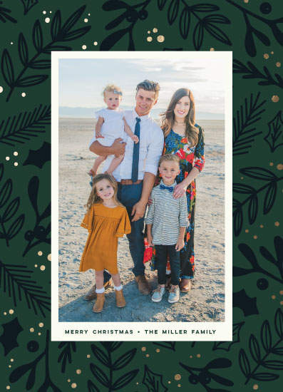 holiday photo cards - Festive Florals by Three Kisses Studio