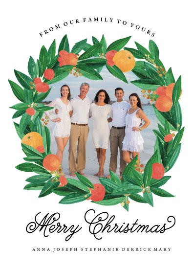 holiday photo cards - Citrus Wreath Christmas by Camilla Acosta