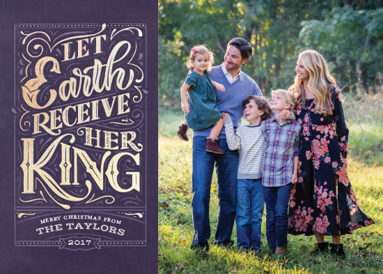 holiday photo cards - Let Earth Receive Her King by Laura Bolter Design