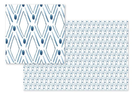 fabric - Blue Rhombus by Albina Bratcheva