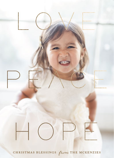 holiday photo cards - Love Peace Hope by Roopali