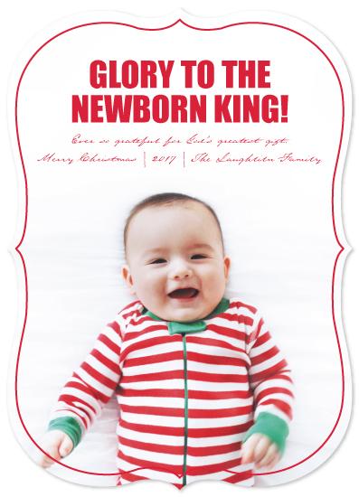 holiday photo cards - GLORY TO THE NEWBORN KING by JOHANNA PURMORT