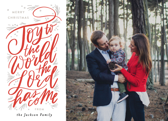 holiday photo cards - Joy to the World Pine Swoopt by Alethea and Ruth