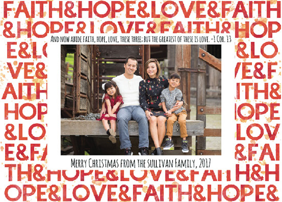 holiday photo cards - Faith Hope Love Watercolor Typographic Christmas Card by Angela Sullivan