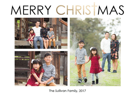 holiday photo cards - Merry Christ Christmas Modern 3 Photo Card by Angela Sullivan