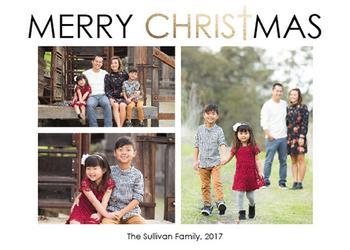 Merry Christ Christmas Modern 3 Photo Card