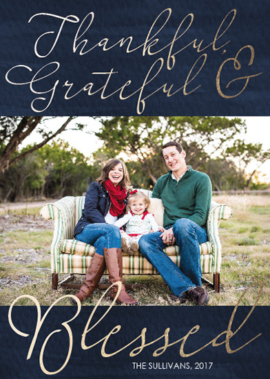 holiday photo cards - Thankful Grateful Blessed by Angela Sullivan