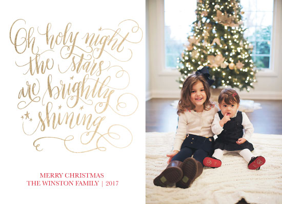 holiday photo cards - Hand Lettered Holy Night by Beth Hunt