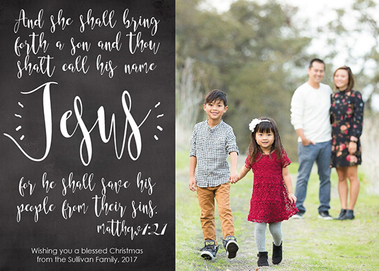 holiday photo cards - Matthew 1:21 Jesus Bible Verse Chalkboard Christmas Photo Card by Angela Sullivan