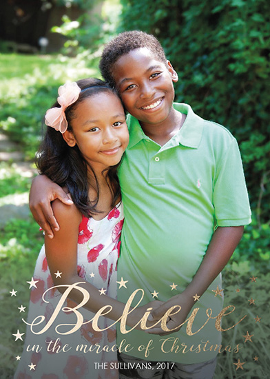 holiday photo cards - Believe in the Miracle Foil by Angela Sullivan