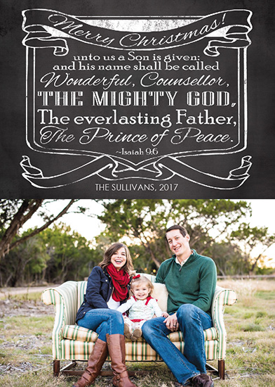 holiday photo cards - Prince of Peace Bible Verse Chalkboard Christmas Photo Card by Angela Sullivan