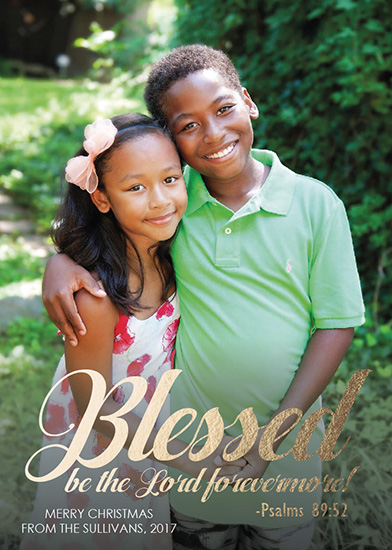 holiday photo cards - Blessed be the Lord Bible Verse by Angela Sullivan