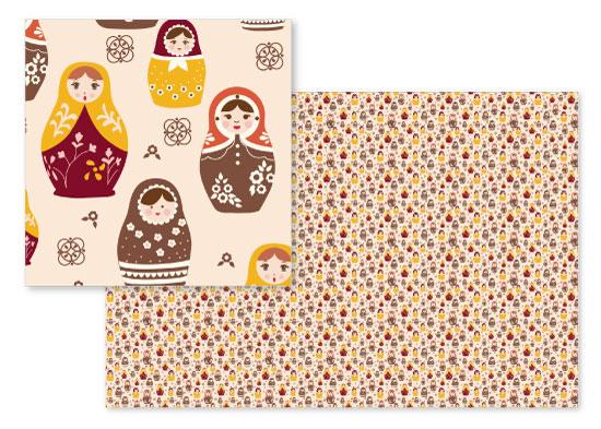 fabric - Babushka Dolls by Michele Cahill