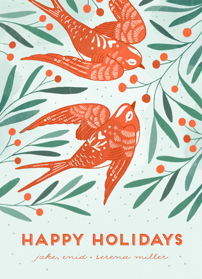 non-photo holiday cards - Birds of Cheer by Paper Raven Co.