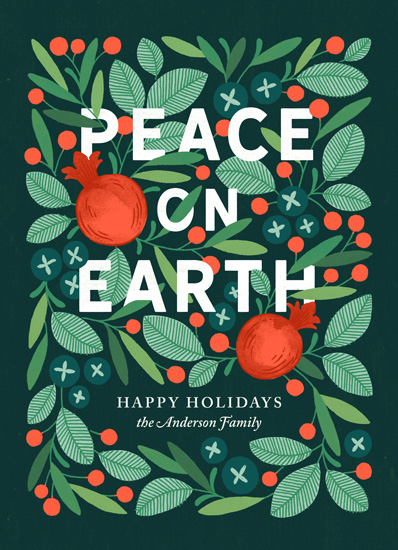 non-photo holiday cards - Wreathed in Peace by Paper Raven Co.