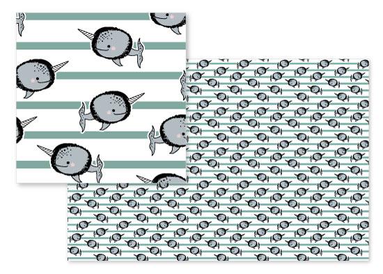 fabric - mariner narwhal by Kissyfish