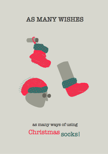 non-photo holiday cards - Christmas socks by Agata Tomaszek