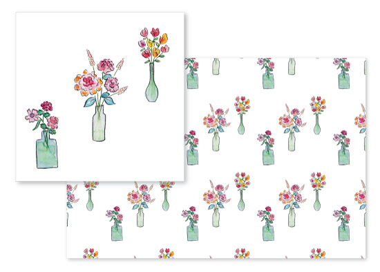 fabric - Watercolor Vases by Rachel Rogers