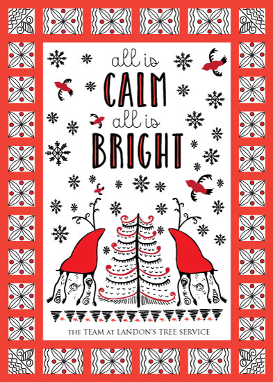non-photo holiday cards - All is Calm, All is Bright by Camilla Acosta
