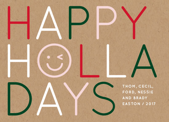 non-photo holiday cards - Happy Holla Days by Baumbirdy