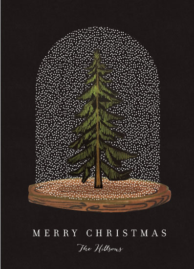 non-photo holiday cards - Snow globe Tree by Baumbirdy