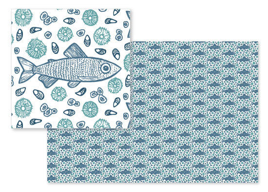 fabric - Friendly Fish And Friends by Kelsey Beaudoin