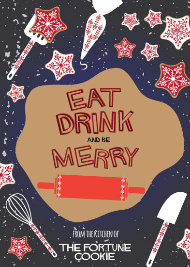 non-photo holiday cards - Eat Drink and be Merry by Camilla Acosta