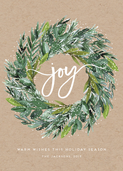 non-photo holiday cards - Natural Pine Wreath by Petra Kern