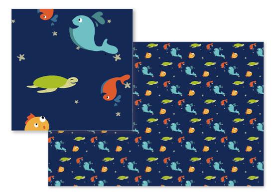 fabric - Underwater world by Sylvia Rudert