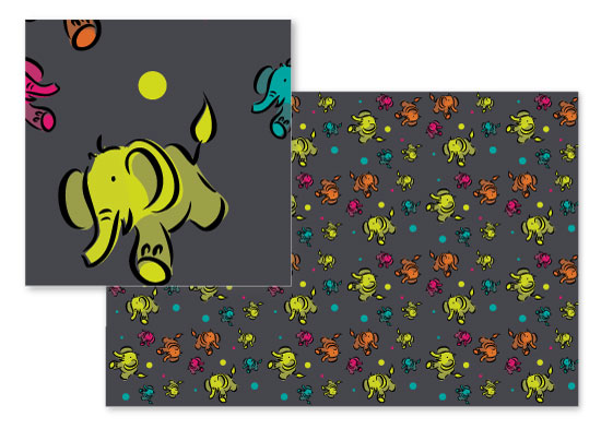 fabric - Elephant fun by Sylvia Rudert