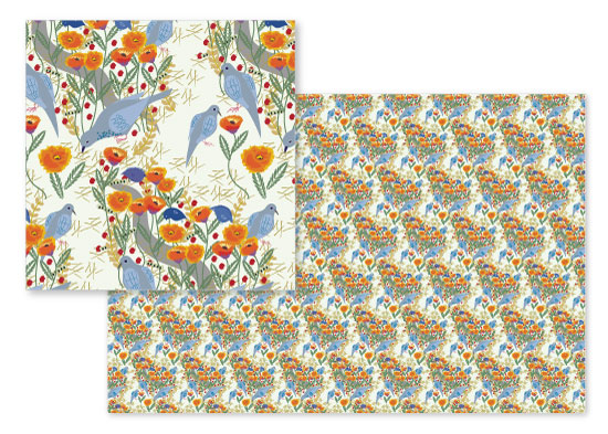 fabric - Poppies and Peeps by Jean Calomeni