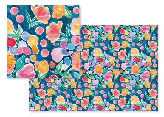 fabric - Summer Flowers and dots on Blue by Rachel Rogers