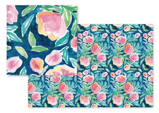 fabric - Summer Flowers on Blue by Rachel Rogers