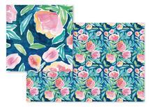 Summer Flowers on Blue by Rachel Rogers