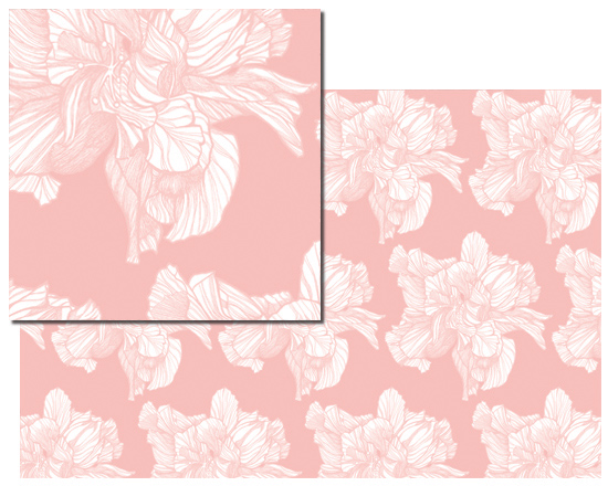 fabric - BW HYBRID HIBISCUS PATTERN PINK by Carlita Brown Christian