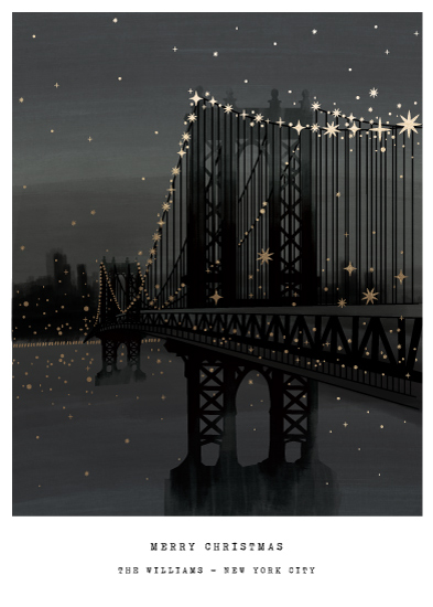 non-photo holiday cards - Manhattan Bridge by Jennifer Lew