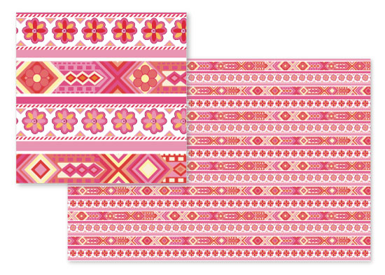 fabric - Pink Aztec Flowers by Michele Cahill