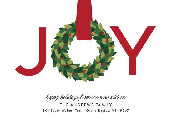 non-photo holiday cards - Joy Wreath by Sarah Guse Brown