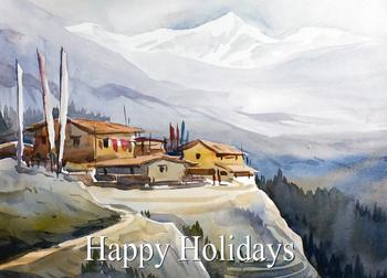Happy Holidays Greetings with Watercolor Hand Painted Watercolor Landscape Painting
