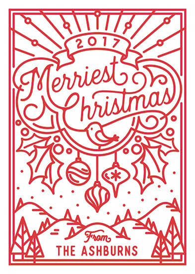 non-photo holiday cards - Merriest Christmas by GeekInk Design