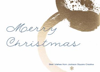 Merry Christmas in Blue and Gold Foil